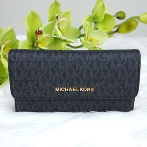 Michael Kors Bags - 🌺NWT Michael Kors LG Trifold Wallet Black MK logo